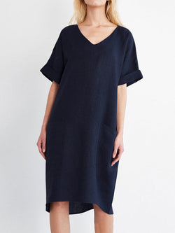 Linen Short Sleeve Casual Casualdress