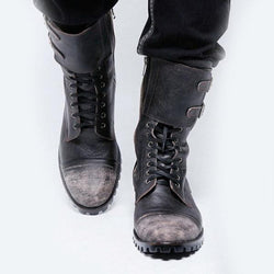 Autumn and Winter Leather Spliced Knights Boots