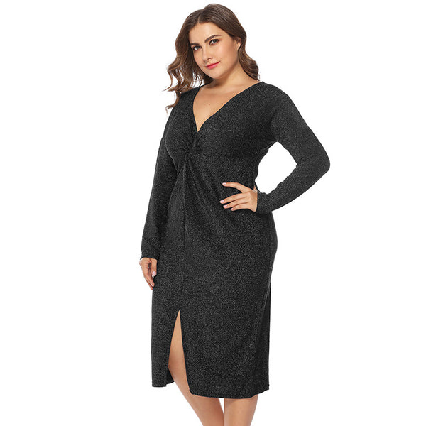 New European and American Large Size Women's V-neck Dress