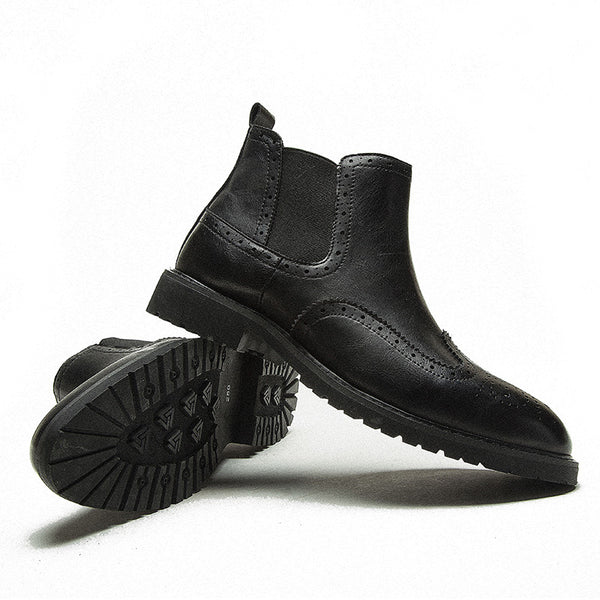 British Carved Business Casual Boots Leather Boots