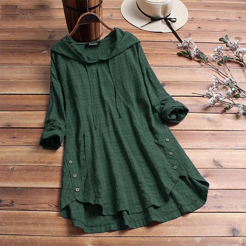 Plus Size Blouse Women Casual Hooded Long Sleeve Check Plaid Loose Tops Shirts