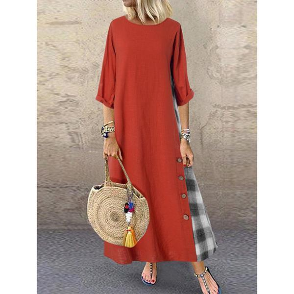 Patchwork Button Loose Dresses