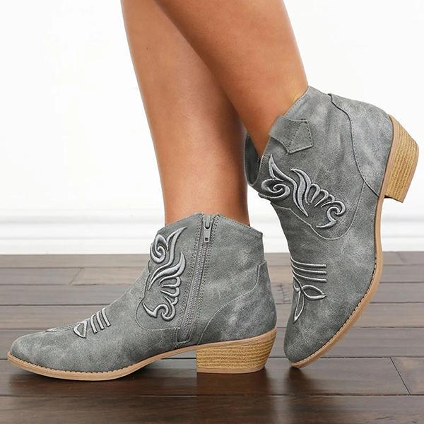 Embroidery Zipper Vintage Round Toe Boots