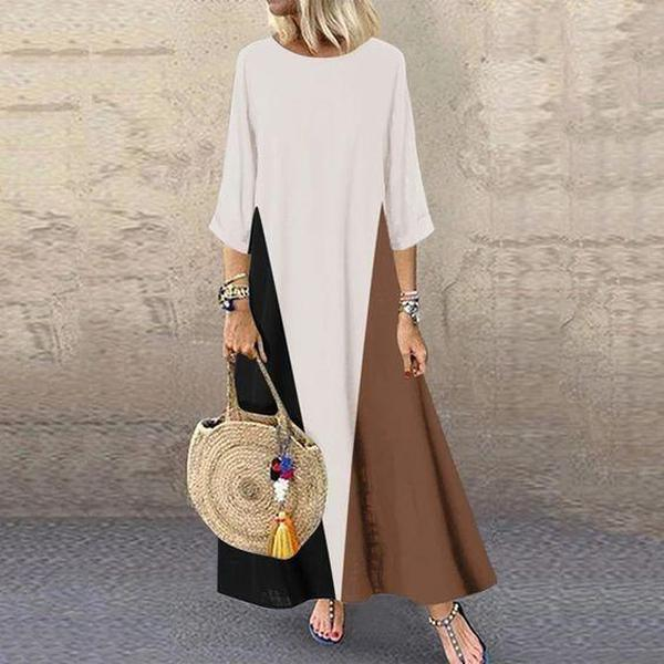 Chic Round Neck 3/4 Sleeve Loose Color Block Maxi Dress