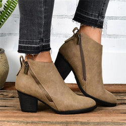 Side Zipper Chunky Heel Ankle Retro Boots
