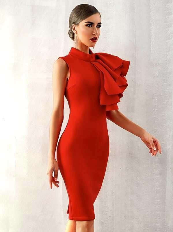 Adyce Exaggerated Ruffle Slit Hem Pencil Dress
