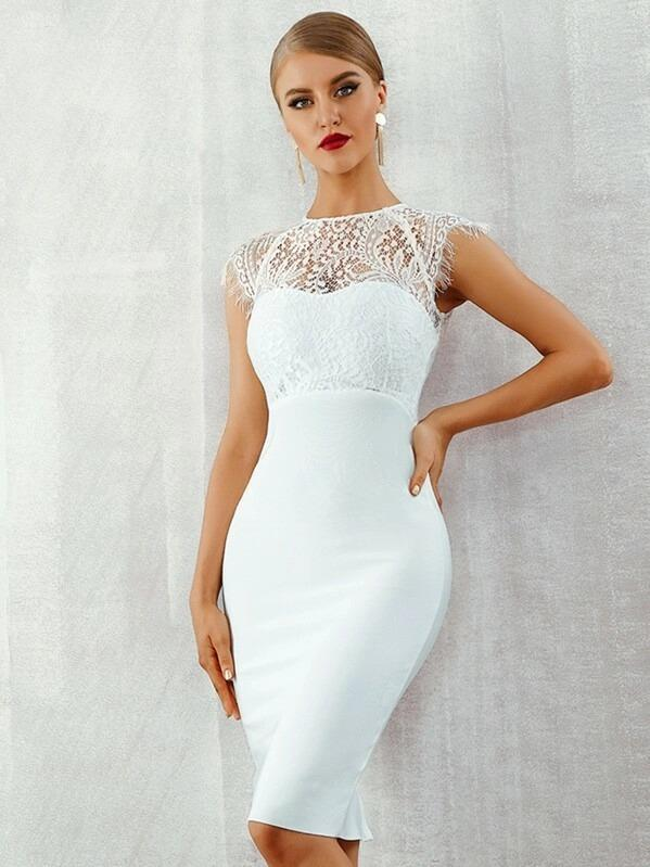 Adyce Lace Insert Slit Hem Bodycon Dress