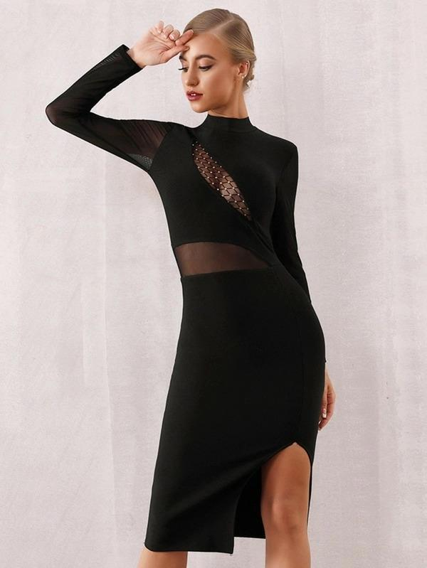 Adyce Sheer Mesh Insert Slit Hem Bandage Dress