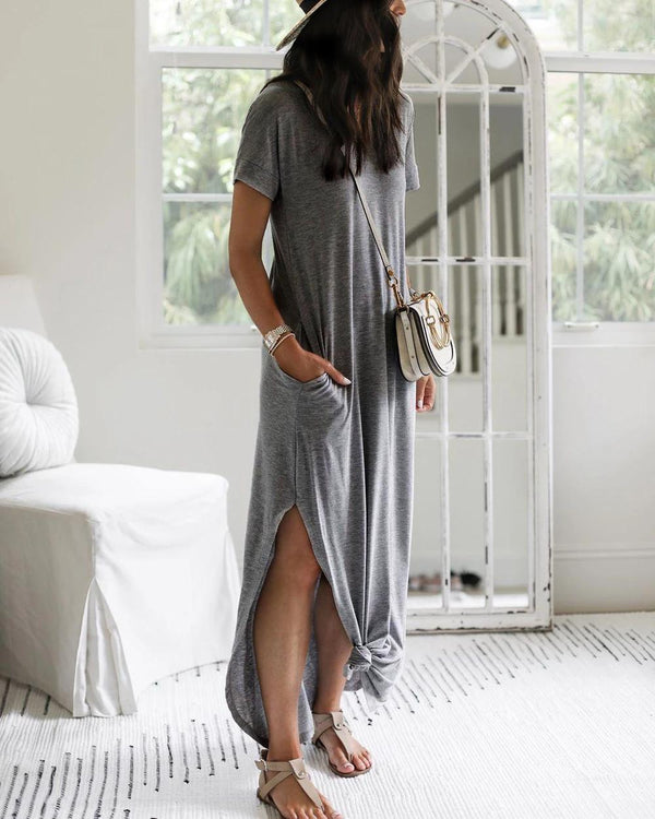 Elegant Short Sleeve Ultra Soft Split Flowing Basic Maxi Dress