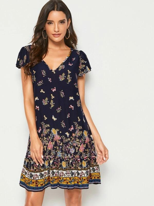 Butterfly & Flower Print Trapeze Dress