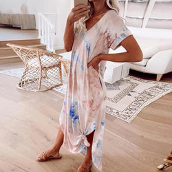 Loose Tie-Dye Short Sleeve Maxi Dress