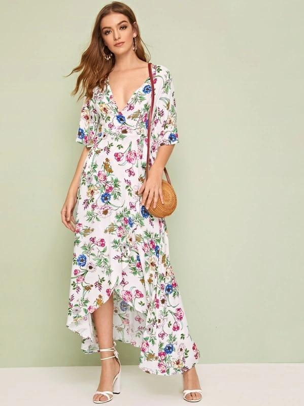 Floral Asymmetrical Hem Split Thigh Wrap Belted Dress