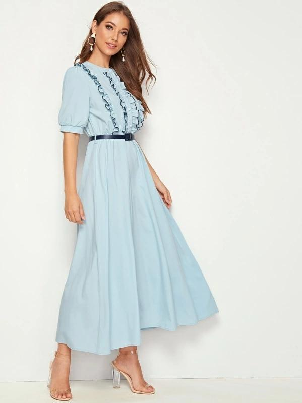 Frill Trim Puff Sleeve Belted Dress