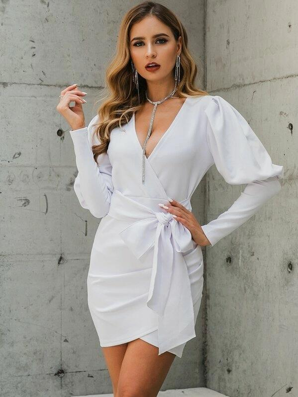 Glamaker Gigot Sleeve Wrap Belted Dress
