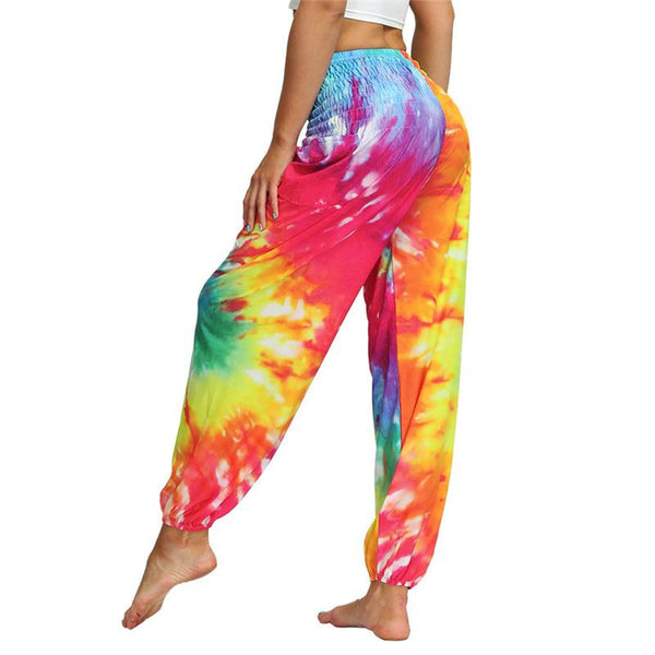 Women Harem Pants Tie Dyeing Chic Wide Leg Pants Summer Casual Beach Party Wear Boho High Pants