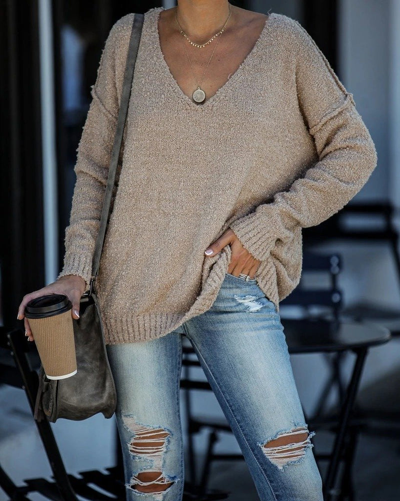Plain V Neck Knitted Casual Sweater