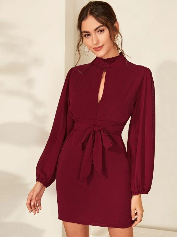 Keyhole Neckline Tie Front Shirred Dress