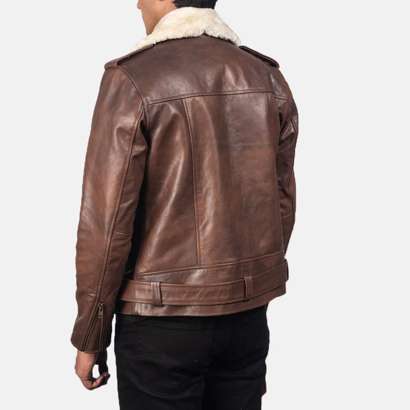 Furton Black / Brown Leather Cow hide Semi-aniline Quilted viscose lining Zipper with Waist Belt Jacket