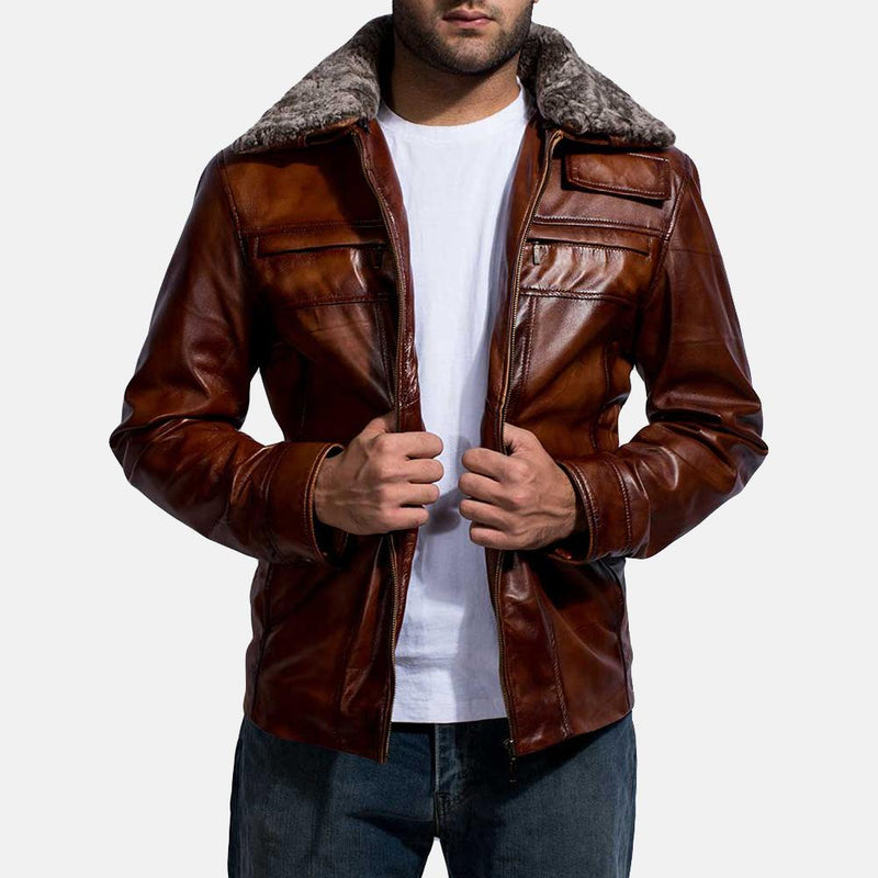 Evan Hart Fur Brown Leather Sheepskin Burnishing Quilted viscose lining Zipper Jacket