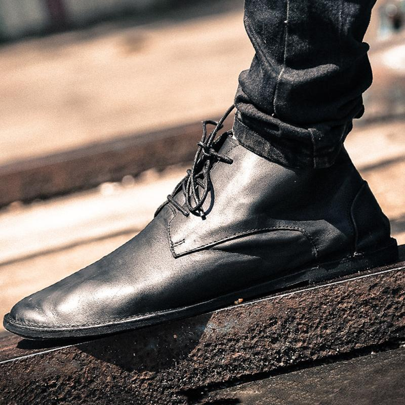 Men's Casual Soft Leather Lace Up Handcrafted Boots