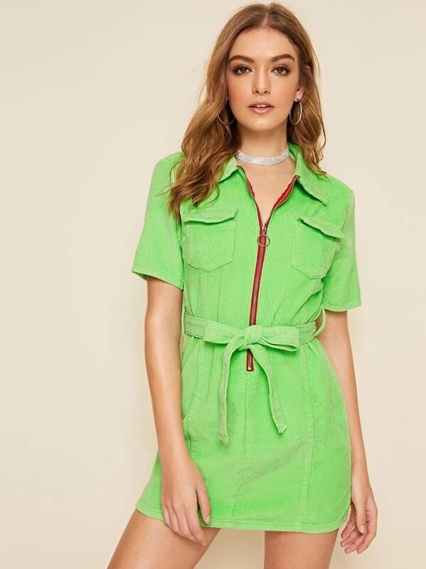 Pocket Patch Zip Front Belted Corduroy Dress