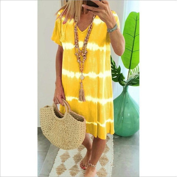 Women's V-neck tie-dye short sleeve dress