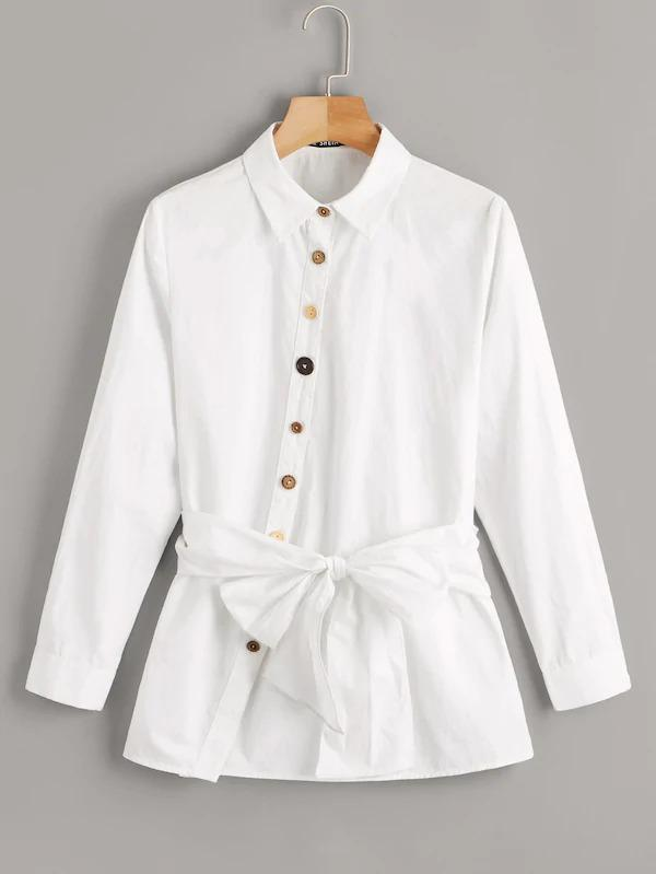 Single Breasted Asymmetrical Placket Tie Front Shirt