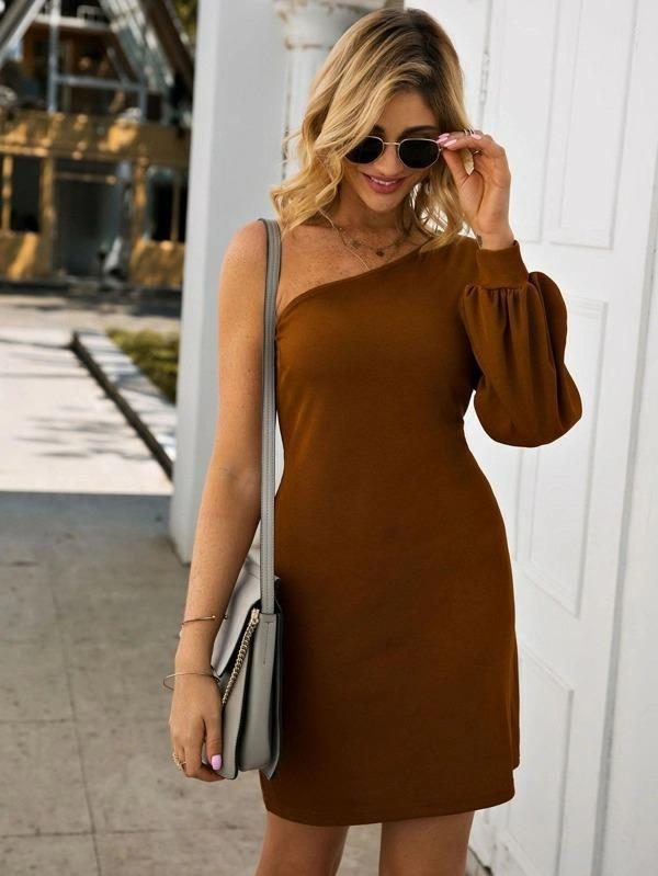 Solid One Shoulder Fitted Dress