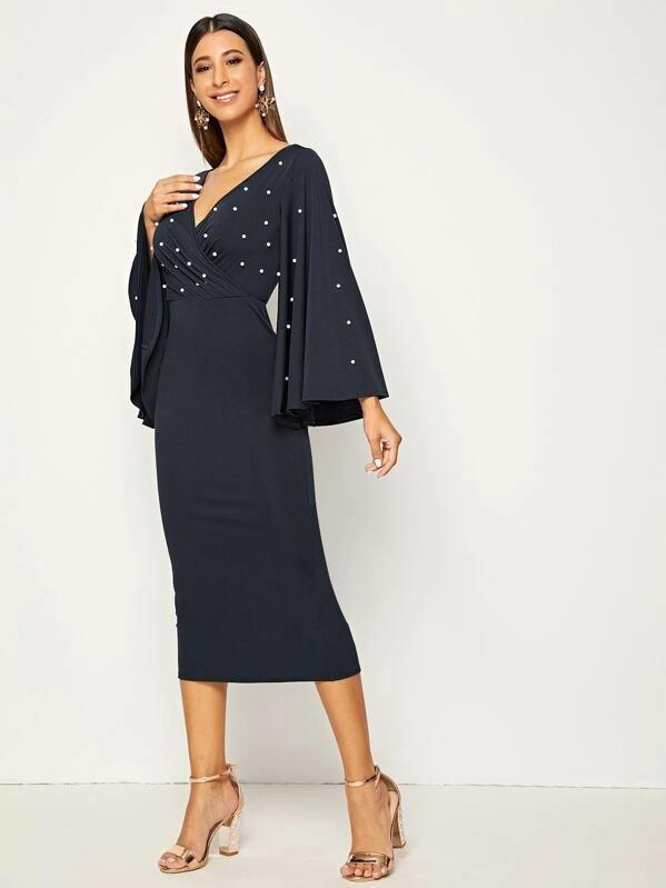 Surplice Neck Pearl Beaded Exaggerate Bell Sleeve Split Dress