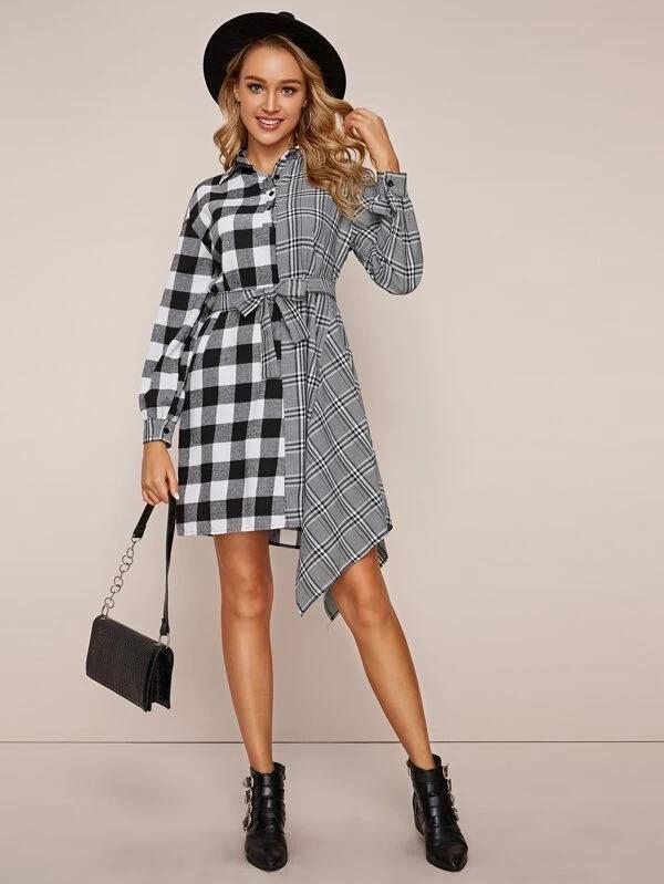 Two Tone Plaid Belted Shirt Dress
