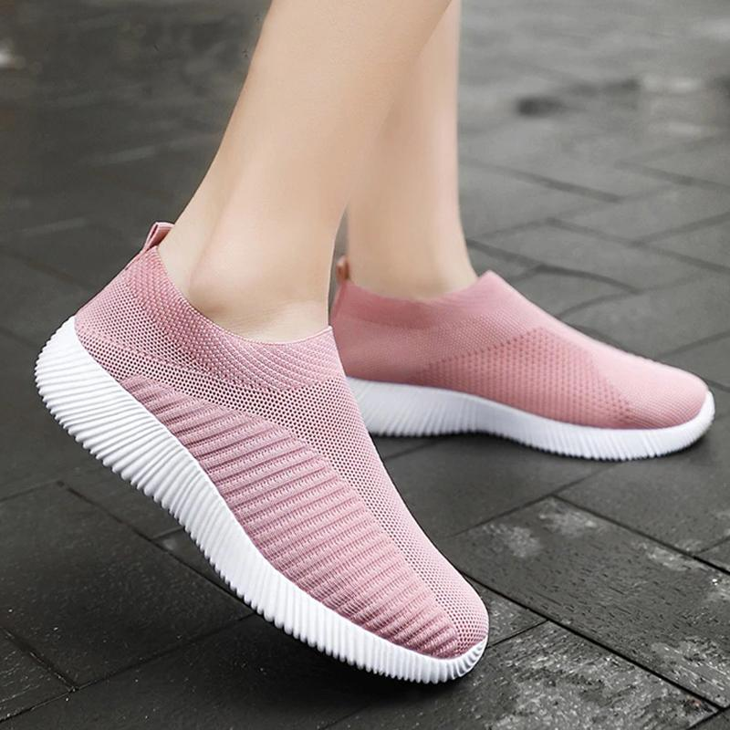 Women Sneakers Female knitted Vulcanized Shoes Casual Slip On Flats Ladies Sock Shoes
