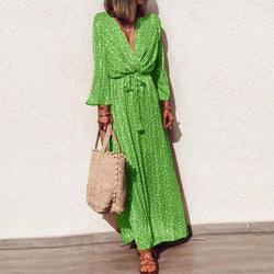 Classy Green Print V-Neck Long Sleeve Maxi Dress