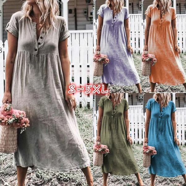 Solid Color Button Fly Daily Casual Dresses