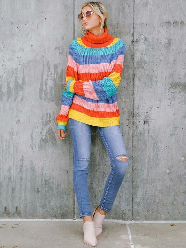 Loose Rainbow Striped Knitting Sweater