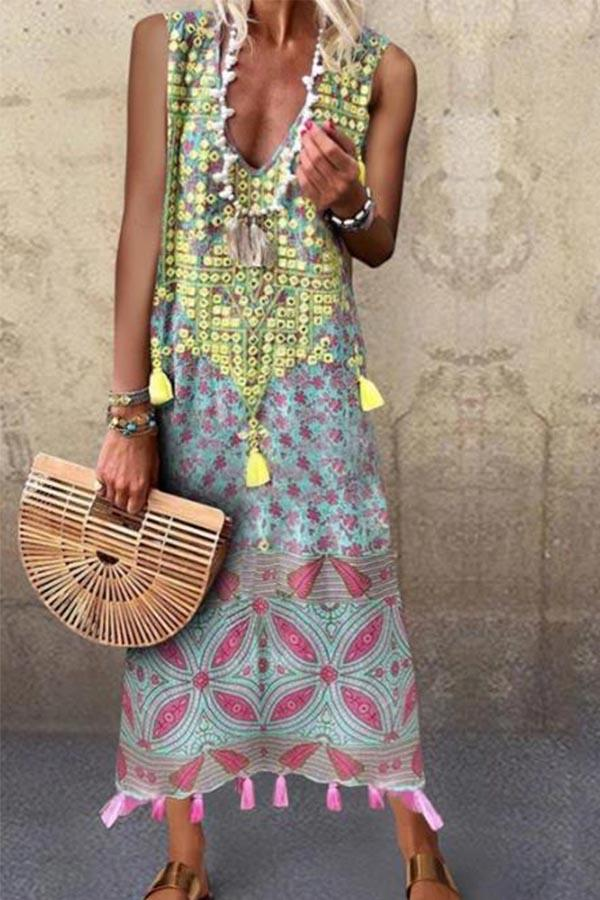 Bohemian Floral Print Sleeveless Tassel Holiday Maxi Dress