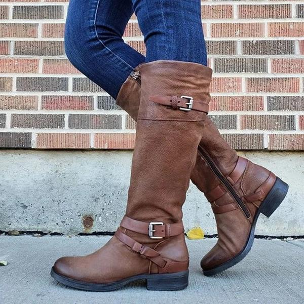 WOMEN PLUS SIZE RIDING BOOTS ZIPPER LOW HEEL FAUX LEATHER BOOTS