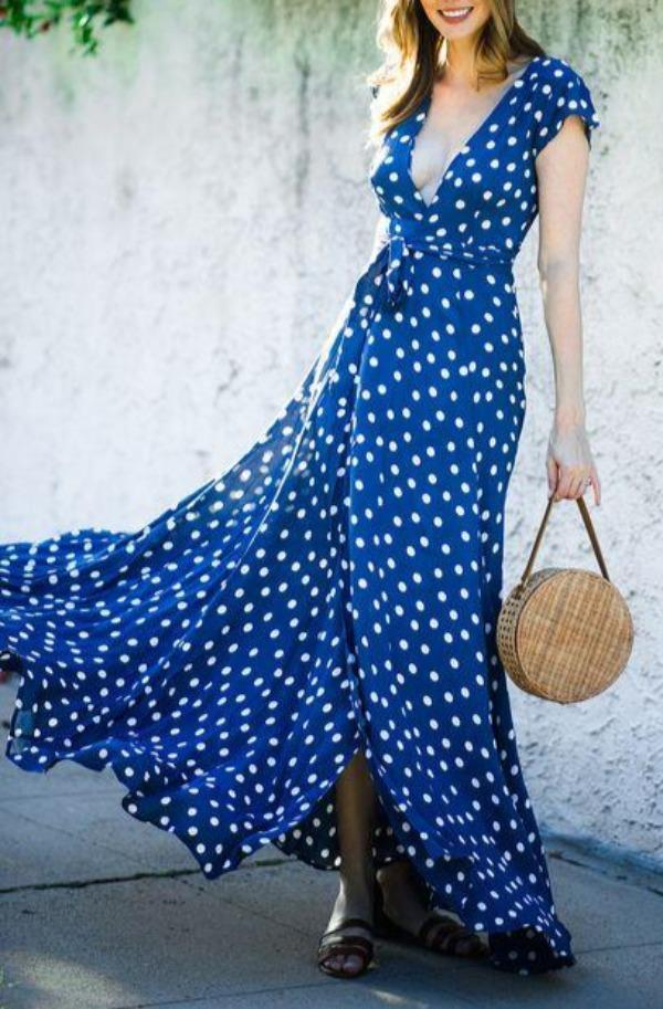 Flowing V-Neck Polka Dot Short Sleeve Maxi Dress