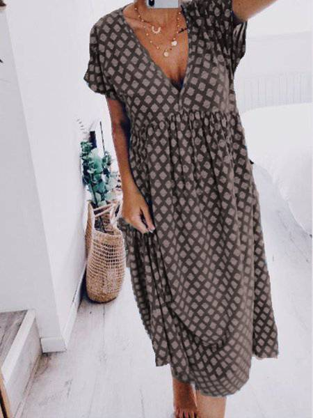 V Neck Geometric Short Sleeve Summer Dress