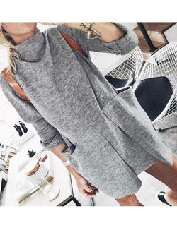 Long Sleeve Turtleneck Plain Fall Dresses