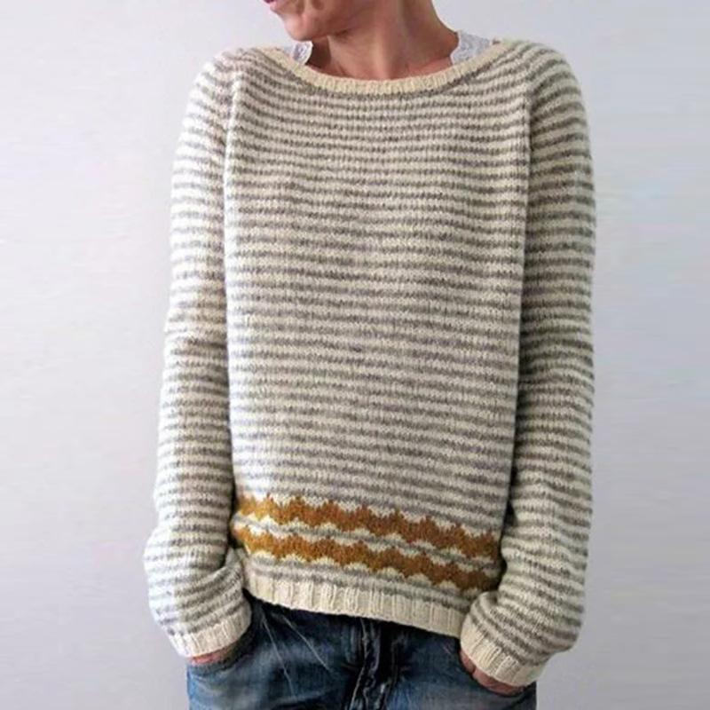 Plus Size Casual Striped Sweaters