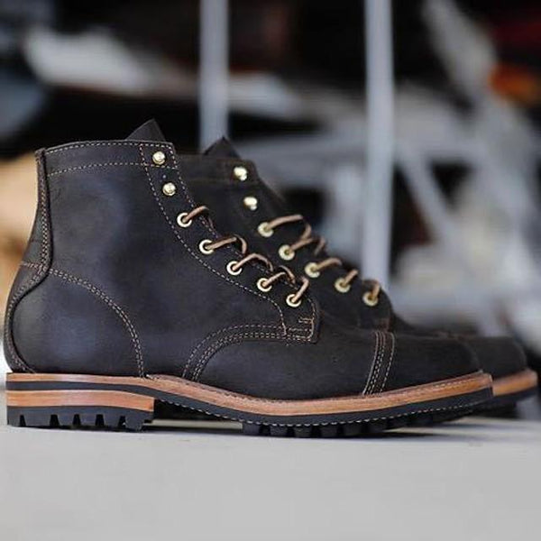 Men's Fall / Winter Casual Daily Boots PU Black / Army Green / Blue / Square Toe