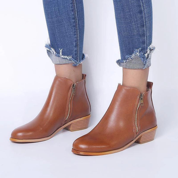 Women Side Zipper Round Toe Ankle Boots
