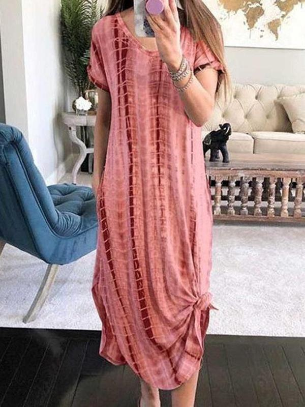 Baggy Print Scoop Neck Short Sleeve Maxi Dress