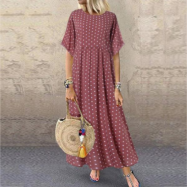 Daily Printed Short-Sleeve Maxi Dress