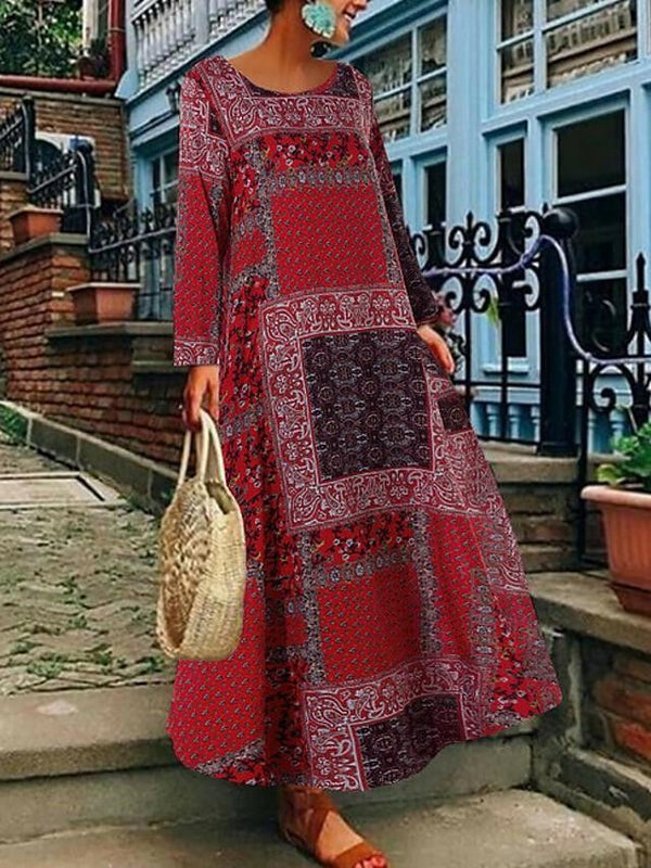 Women's Plus Size Maxi A Line Dress - Long Sleeve Geometric Basic Loose Black Red Green S M L XL XXL XXXL XXXXL XXXXXL / Cotton