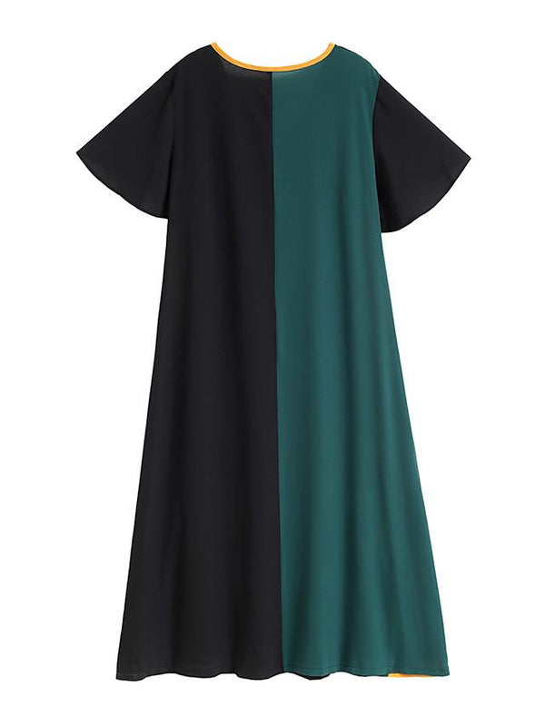 Women's Plus Size Maxi A Line Dress - Long Sleeve Color Block Solid Color Patchwork V Neck Casual Elegant Daily Going out Flare Cuff Sleeve Green XL XXL XXXL XXXXL XXXXXL