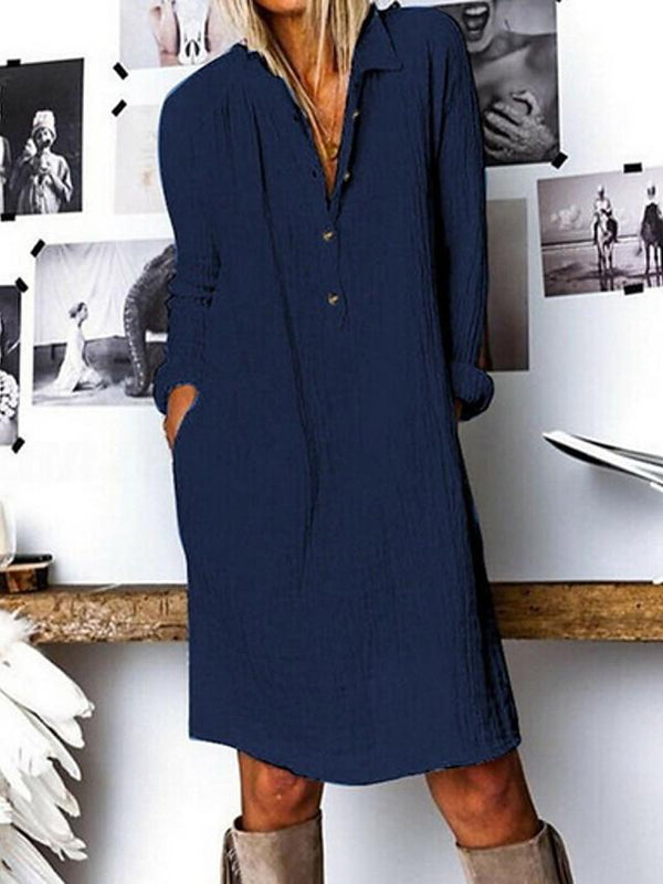 Women's A-Line Dress Knee Length Dress - Long Sleeve Solid Color Spring Summer Shirt Collar Elegant Holiday Home Cotton Loose White Yellow Navy Blue S M L XL XXL XXXL