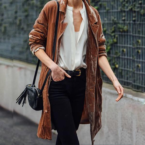 Fashion Solid Color Loose Coats