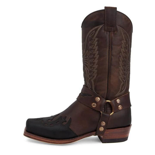 Men's Buckle Caved Cowboy Boots