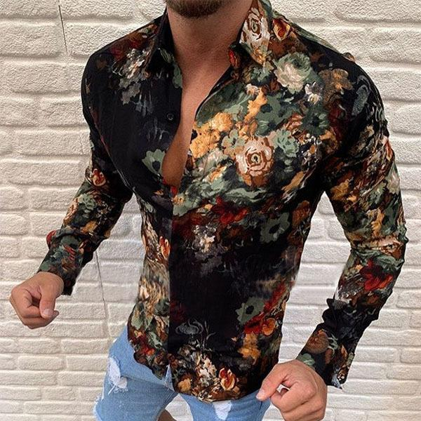 Men Fashion Floral Printed Long Sleeve Shirts